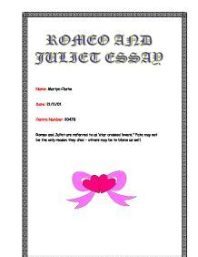 A Literary Essay On Romeo And Juliet - Free Coursework